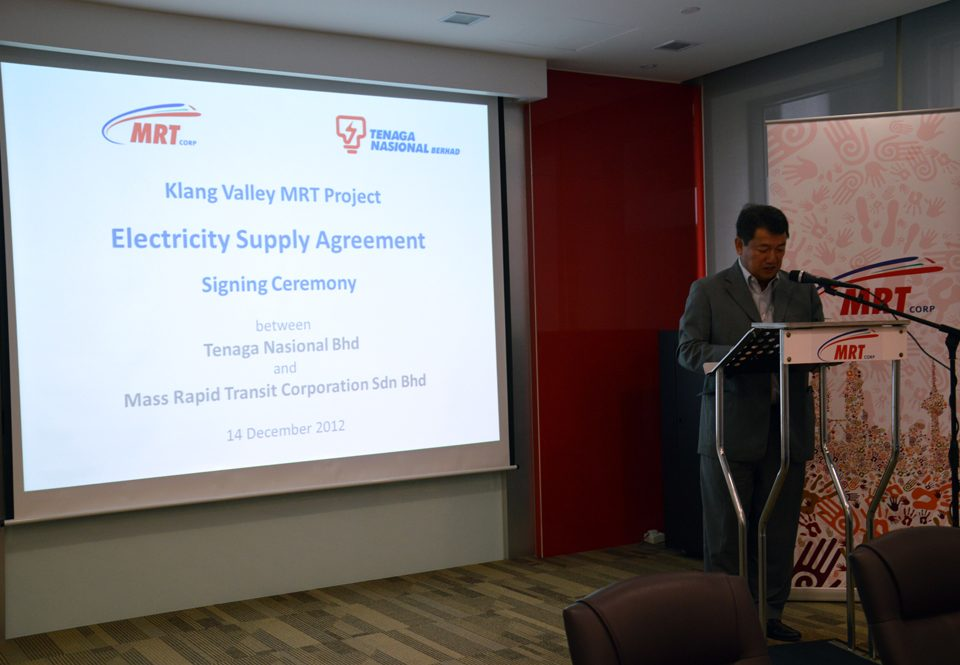 Electricity Supply Agreement Between Mrt Corp And Tnb
