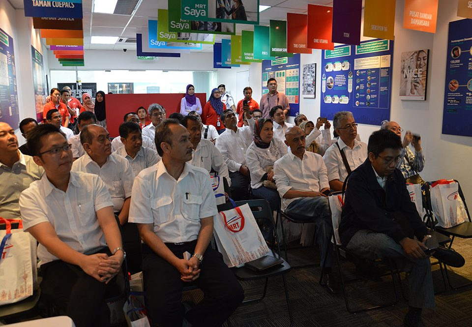 FASCINATED: The delegation from MRT Jakarta listening to the presentations given, on different areas of the MRT Project. In the front row (from left) are Project Management Advisor Mr Allan Tandiono, Director of Construction Mr M. Nasyir and Head of Project Management Mr Arif Rahmat.