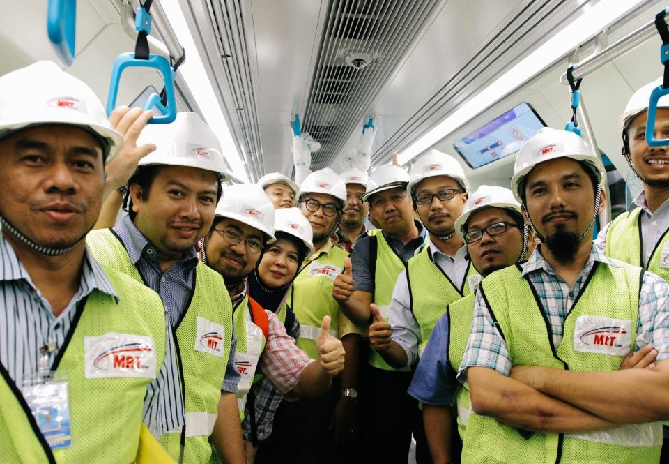 IN THE TRAIN: Engineers from Permanent Way Institution, Malaysia inside the MRT train.