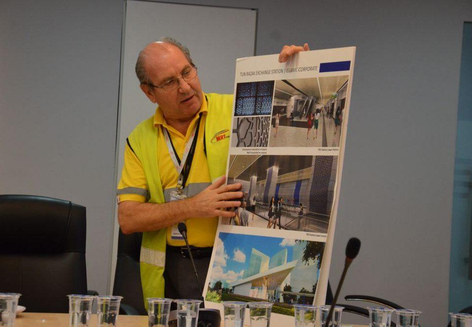 TUN RAZAK EXCHANGE: Mass Rapid Transit Corporation Sdn Bhd (MRT Corp) Sungai Buloh-Kajang (SBK) Line Project Director, Mr Marcus Karakashian explaining the station design and theme of the Tun Razak Exchange Station.
