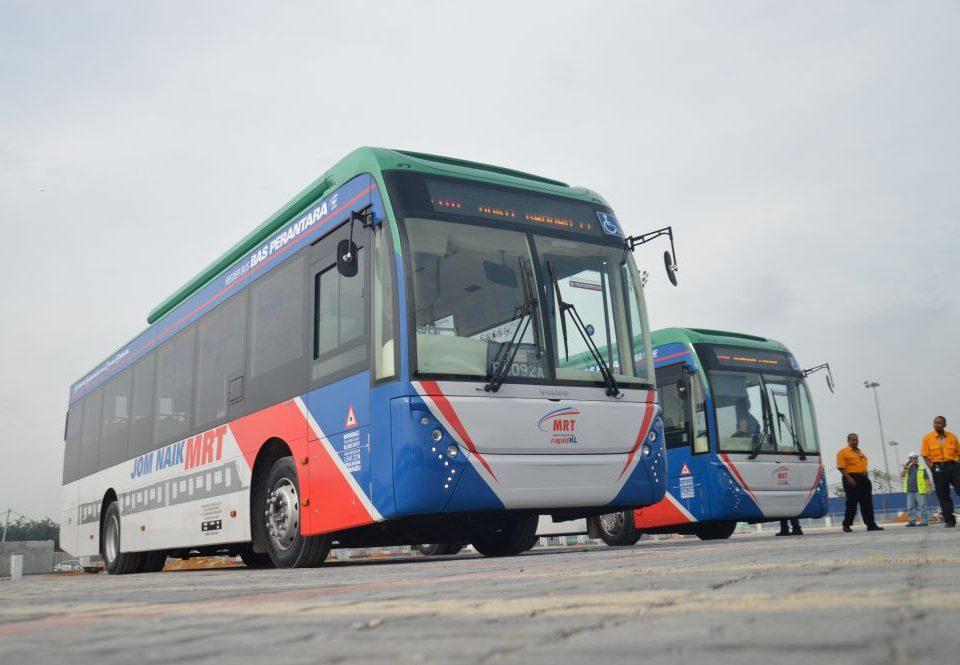 STRIKING: The MRT Sungai Buloh-Kajang Line feeder buses.