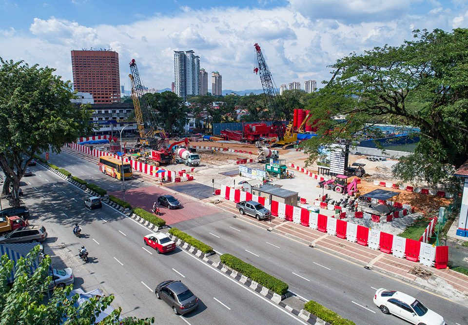Preparation for traffic diversion for the construction of the future Sentul West Station at Jalan Sultan Azlan Shah.
