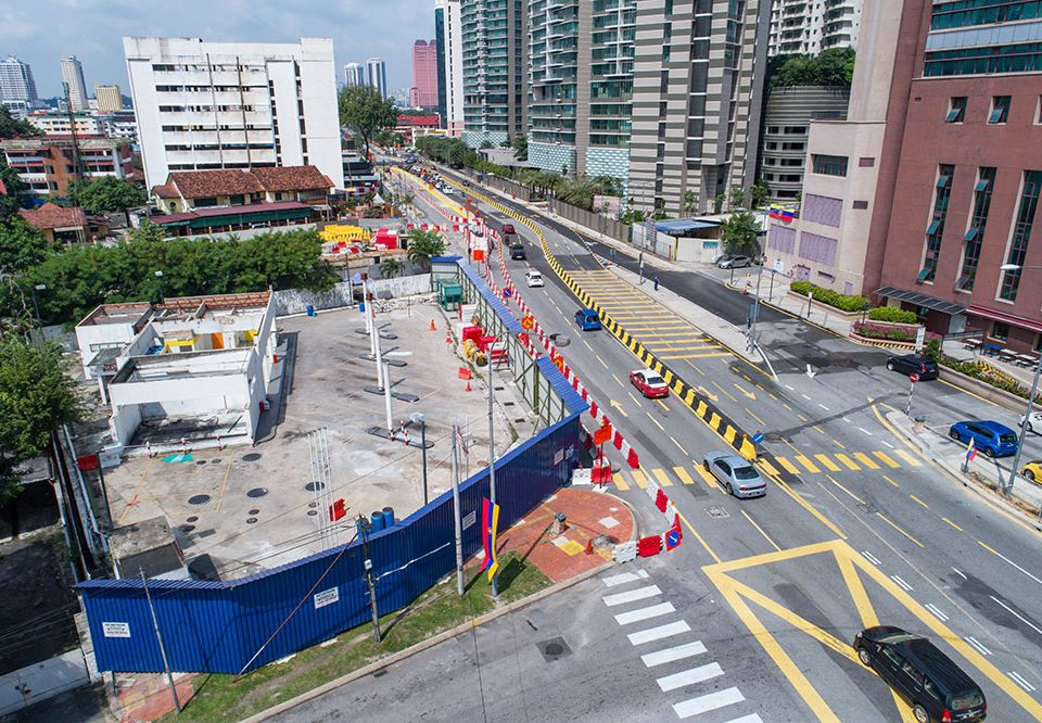 View of the future Kampung Baru North Station site with New Jersey Barriers arranged along Jalan Raja Muda Aziz for upcoming traffic diversion