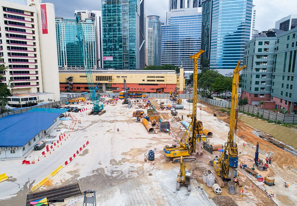 Aerial view of ongoing works at the future Ampang Park MRT Station site.