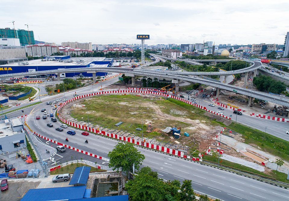 Ongoing preparation works at the Intervention Shaft 2 site at the Kampung Pandan Roundabout.