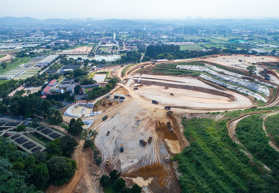 Aerial view of cut and fill earthworks at the Serdang Depot site.