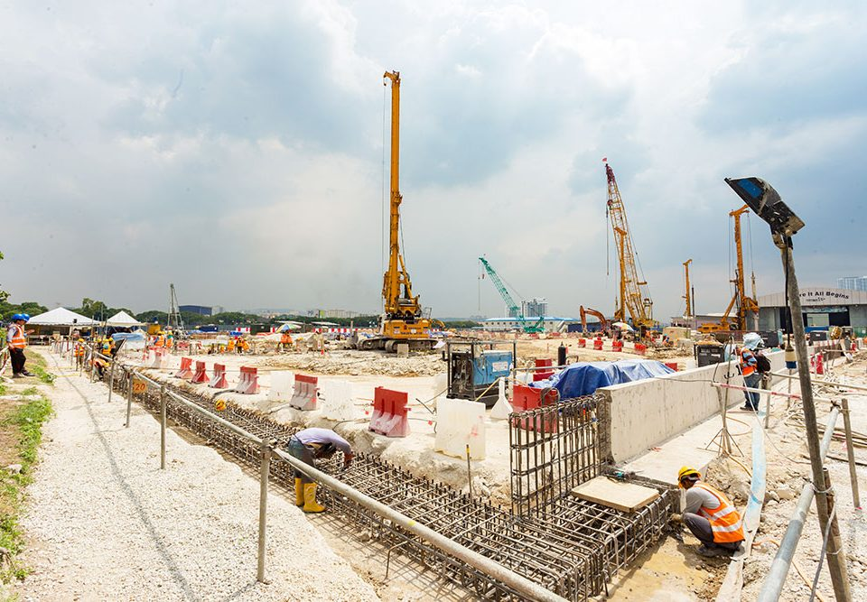 MRT construction work at the future Bandar Malaysia North Station site.