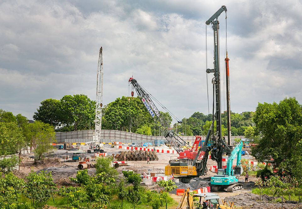 Ongoing piling works at the Putrajaya Sentral MRT Station site.