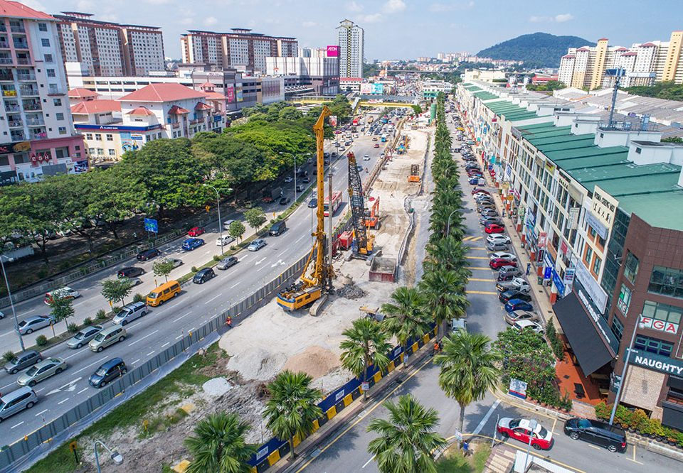 View of bored piling, pile cap and pier column works at the future Metro Prima Station site in Kepong.