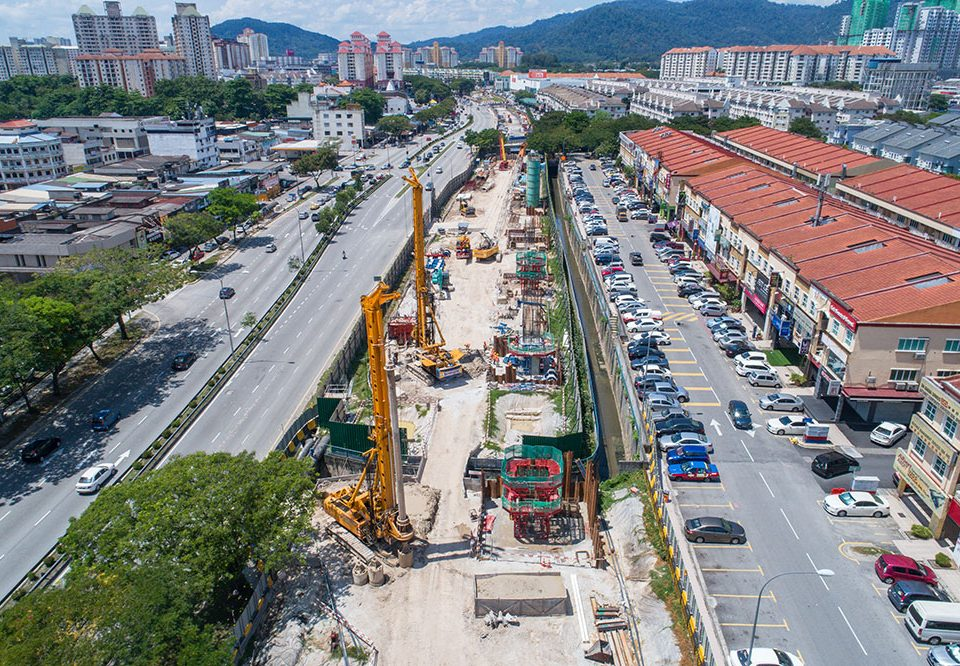 View of bored piling works at the future Kepong Baru Station site beside Jalan Kepong.