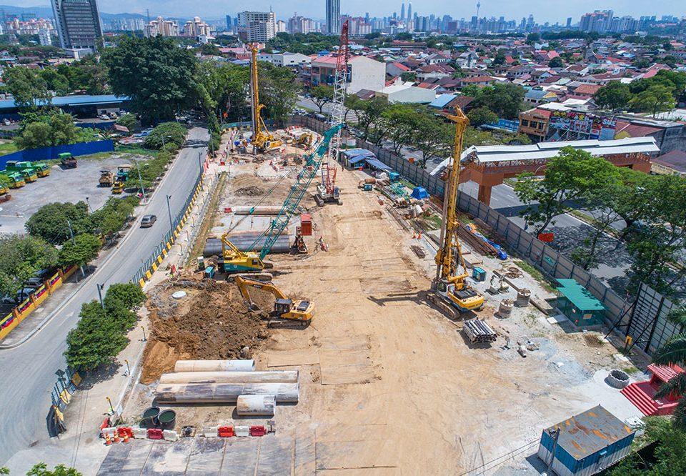Bored piling works in progress along Jalan Kepong in Jinjang.