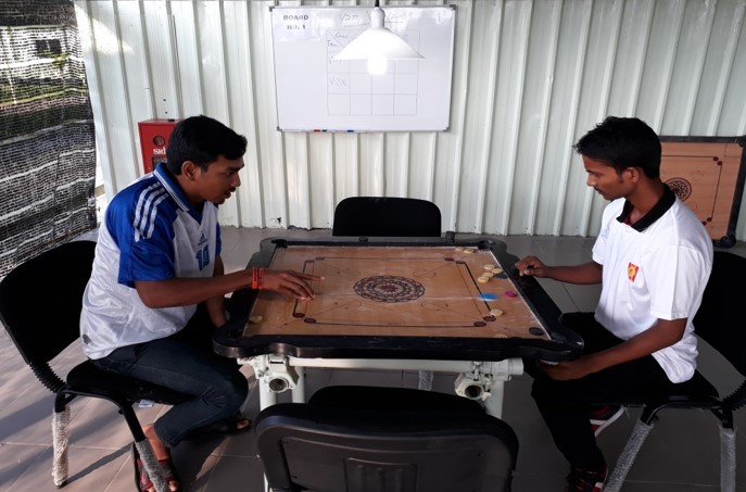 INTENSE ACTION: Some of the carrom action held at the V201 Centralised Labour Quarters, that is operated by Sunway Construction Group
