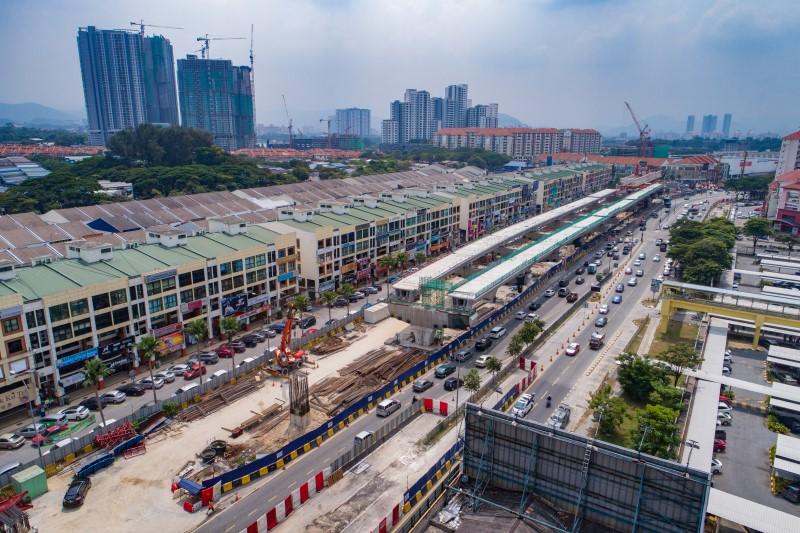 Pandangan udara pelancaran galang kekotak bersegmen di tapak Stesen MRT Metro Prima.