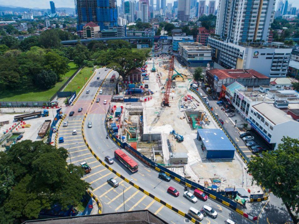 Pandangan udara tapak Stesen MRT Sentul Barat.