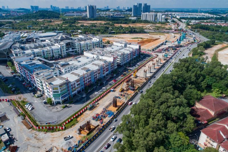 Pandangan udara tapak Stesen MRT Taman Putra Permai