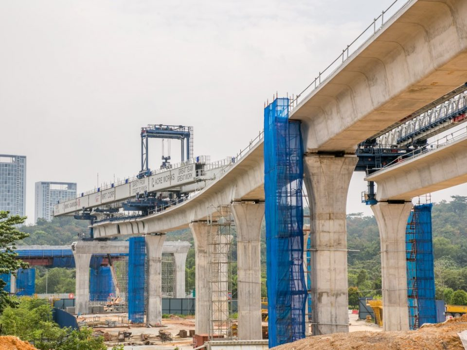 View of completed span launching at the Cyberjaya North MRT Station site.