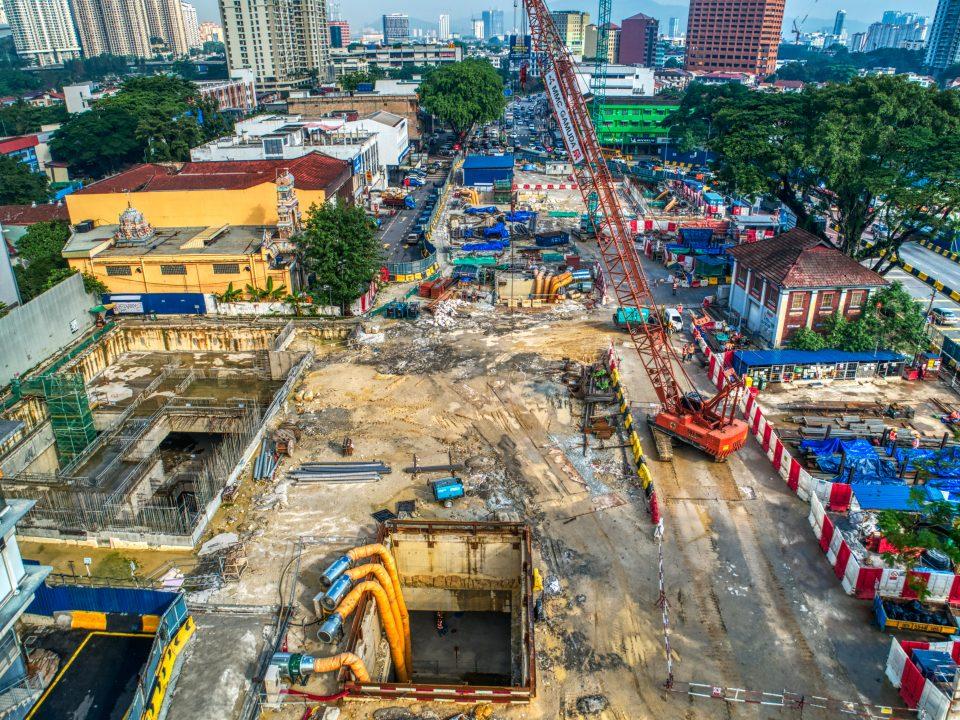 Pandangan atas Pintu Masuk B Stesen MRT Sentul Barat.