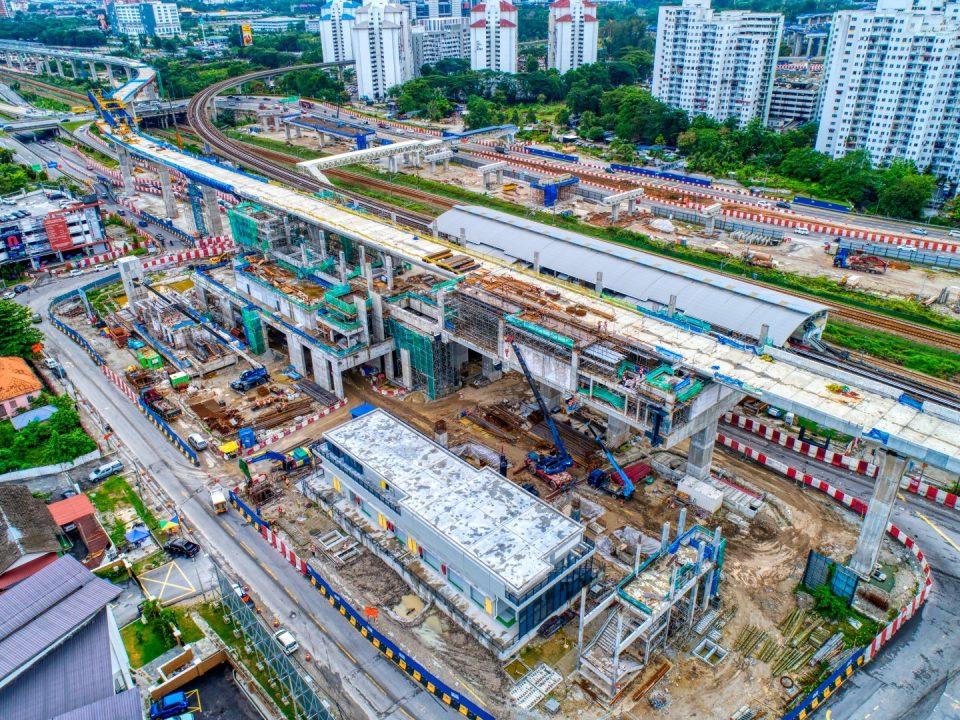 Pandangan udara tapak Stesen MRT Sungai Besi.
