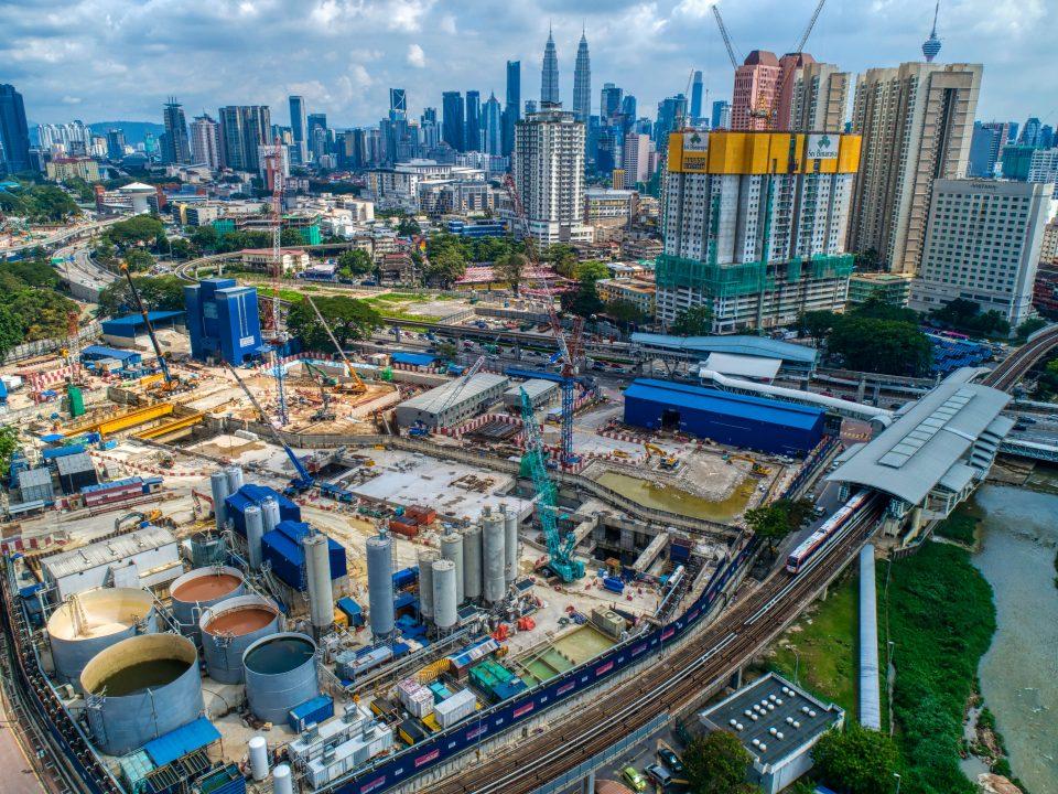 Pandangan udara  tapak Stesen MRT Titiwangsa.