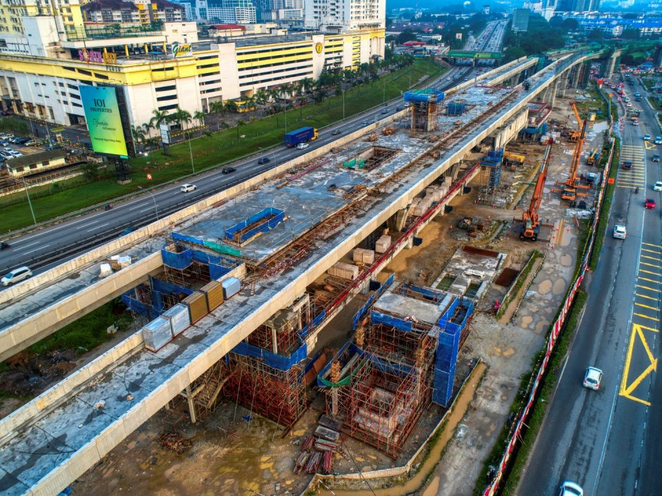 Aerial view of the construction of Serdang Raya Selatan MRT Station roofing in progress.