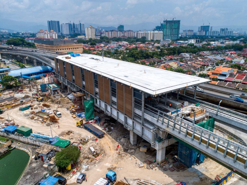 Pandangan udara tapak Stesen MRT Metro Prima
