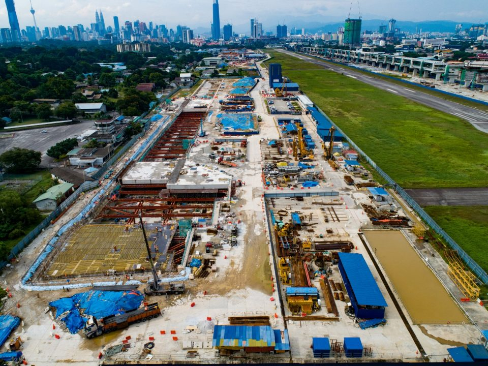 Aerial view of the Bandar Malaysia Selatan MRT Station site showing the station box and site laydown.